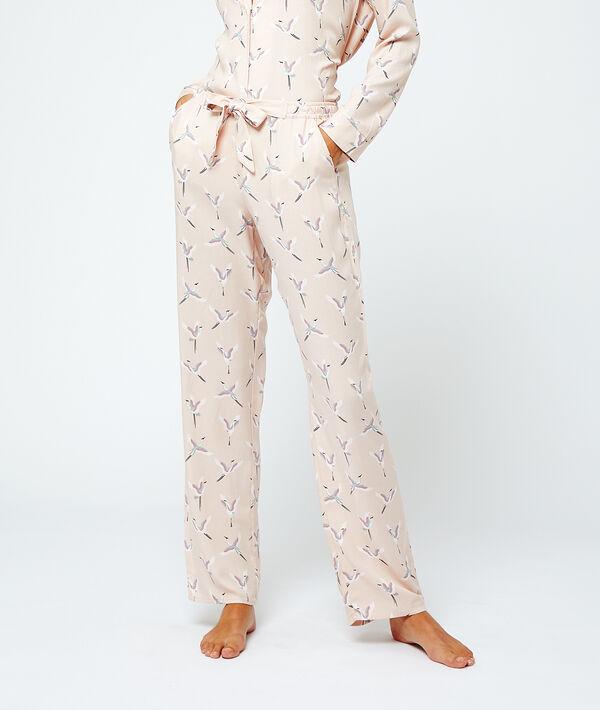 Pantalón pijama estampado pájaros;${refinementColor}