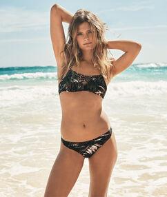 Braguita bikini estampado tropical caqui.