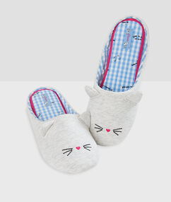 Zapatillas destalonadas gato c.gris.