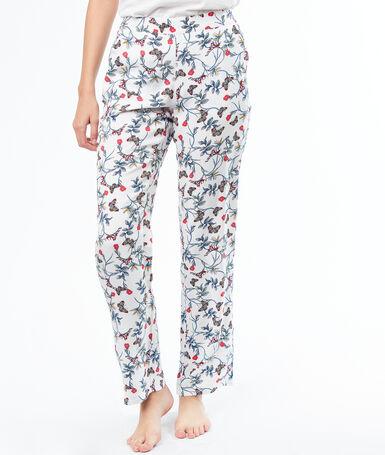 Pantalón estampado floral crudo.