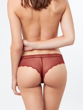 Braguita brasileña de encaje rojo teja.