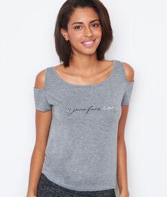 Camiseta hombros al descubierto c.gris.
