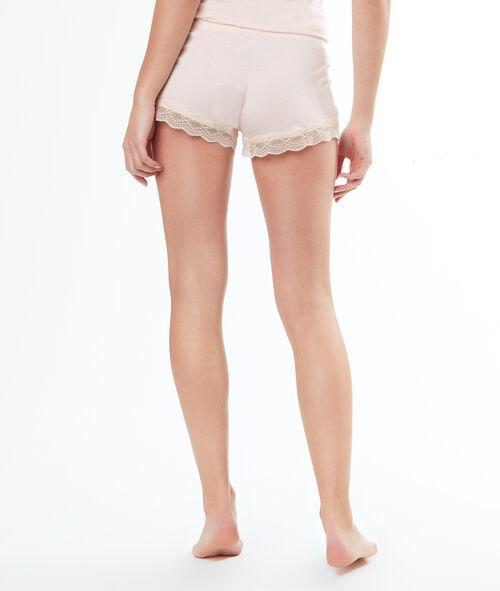 Pantalón corto viscosa y encaje
