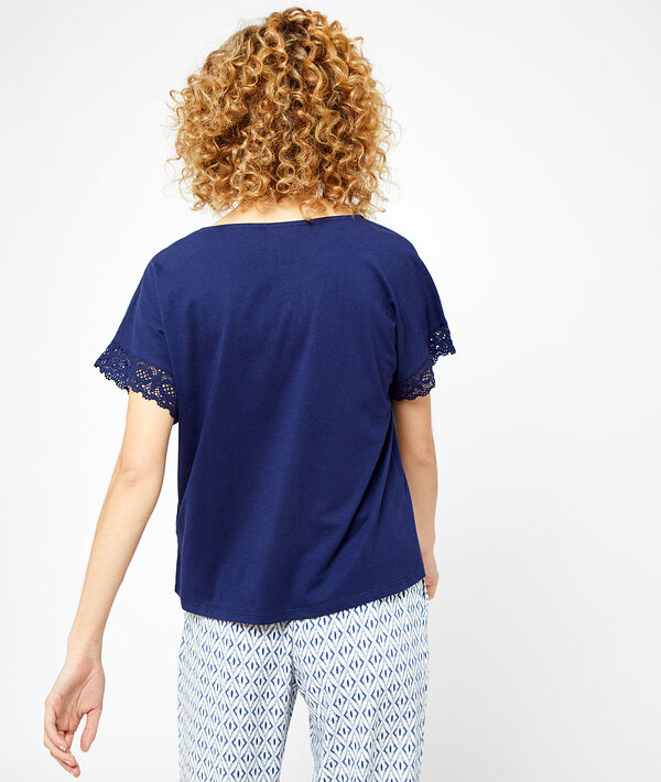 Camiseta detalles de encaje;${refinementColor}