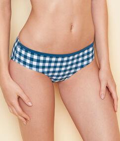 Culote bikini estampado vichy retro azul.