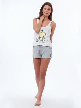 Pantalón corto suave relieve c.gris.