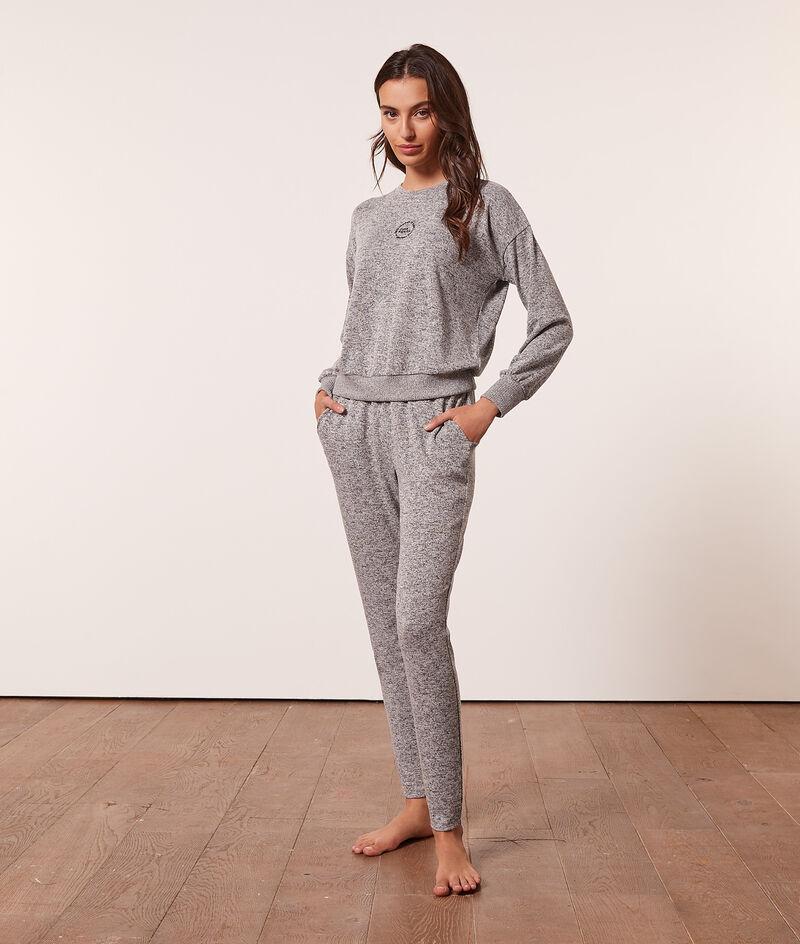 Pantalón pijama jaspeado;${refinementColor}