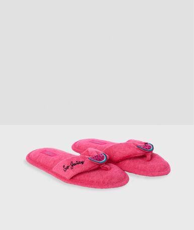 Zapatillas tipo chancla tejido toalla rosa.