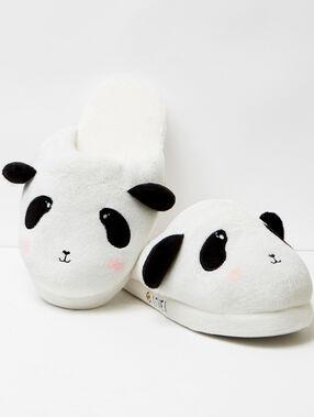 Zapatillas oso panda de fantasía crudo- negro.
