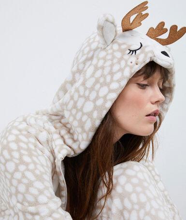 Combinaison pyjama girafe beige.