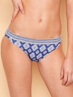Braguita bikini estampado étnico estampado azul marino.