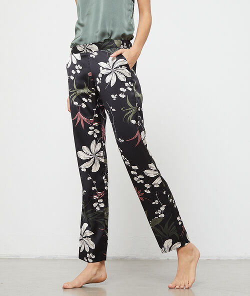 Pantalón de satén estampado floral