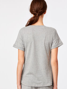 Camiseta manga corta gato antracita.