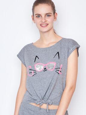 Camiseta estampado gato c.gris.