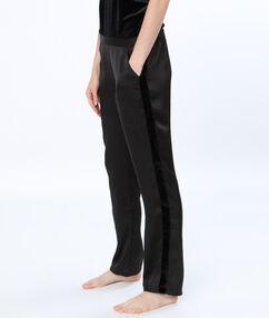 Pantalón satén estampado tira terciopelo negro.