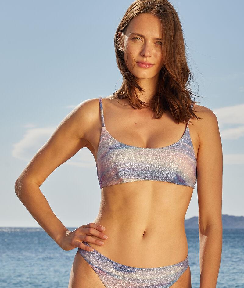 Top bikini sin aros, tejido irisado;${refinementColor}
