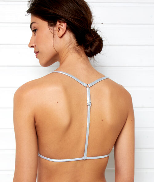 Sujetador bikini triangular franjas plateadas