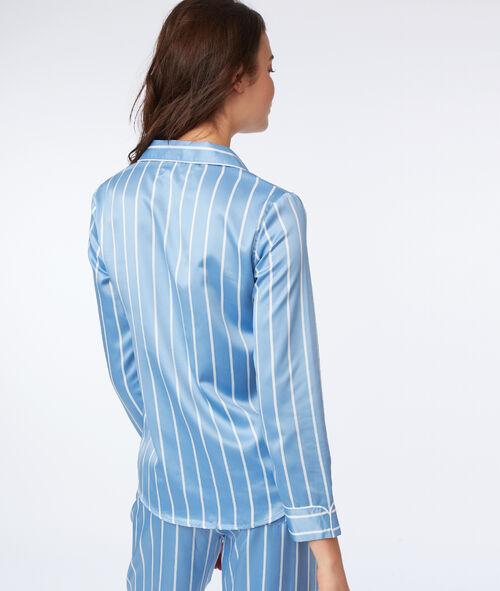 Camisa pijama satén estampado de rayas