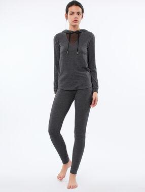 Top homewear capuche et décolleté résille gris.