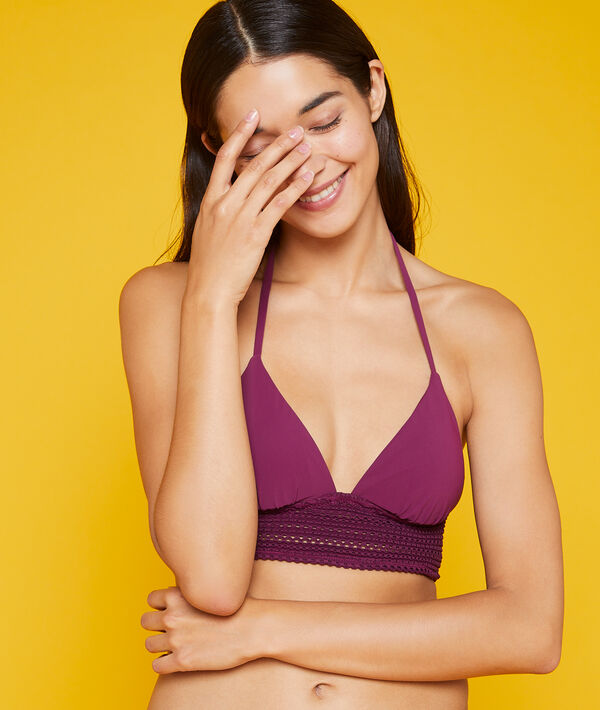 Sujetador bikini triangular con corpiño bordado