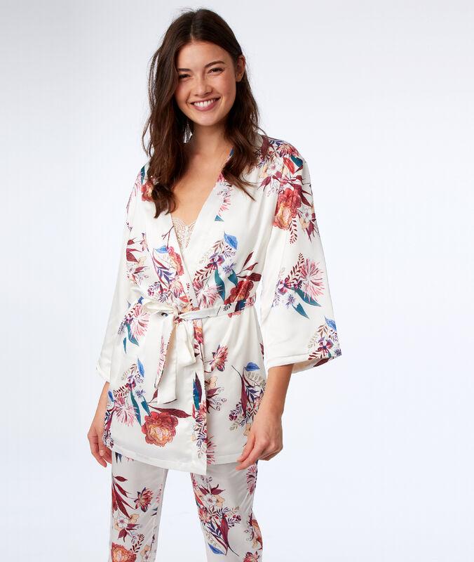 Bata tipo kimono estampado oriental crudo.