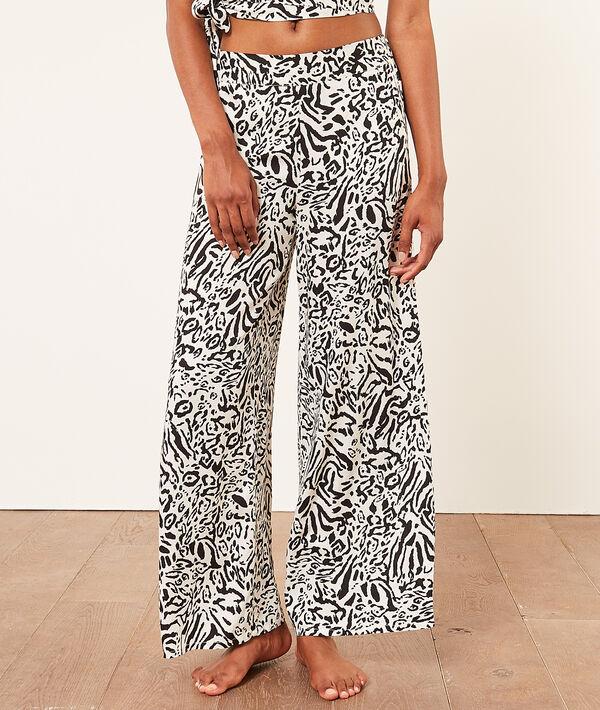 Pantalón ancho estampado leopardo;${refinementColor}