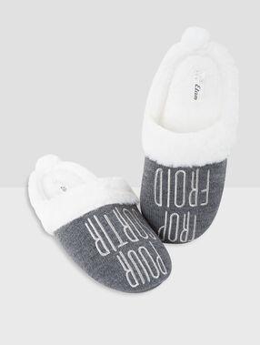 Zapatillas con mensaje estampado c.gris.