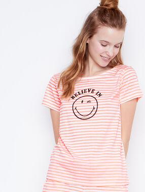 Camiseta mensaje smiley naranja.