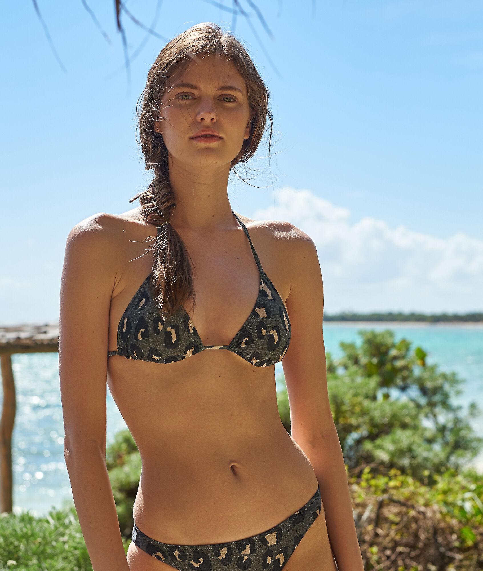 Bikini Estampado De Sujetador Leopardo Triangular KJT31lFc