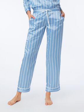 Pantalón pijama satén estampado de rayas azul.