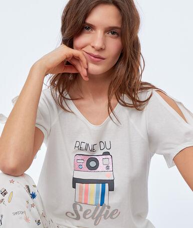 Camiseta estampada crudo.
