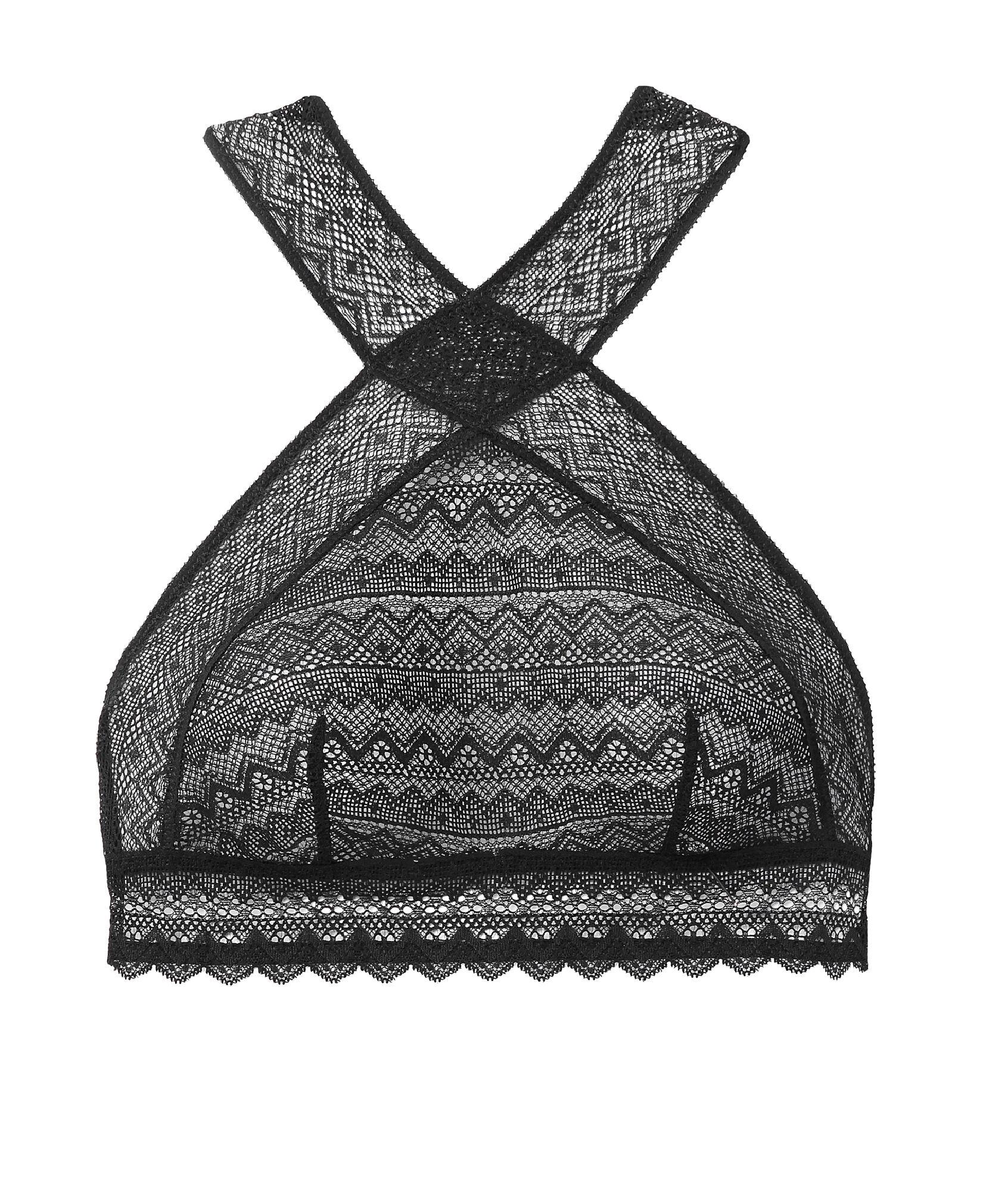 Bralette de encaje cuello choker - 101 ANS - NEGRO - Etam