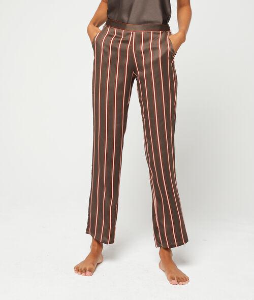 Pantalón de satén estampado de rayas