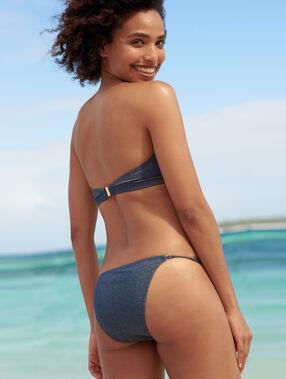 Braguita bikini tejido brillante azul noche.