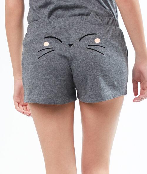 Pantalón corto dibujo gato