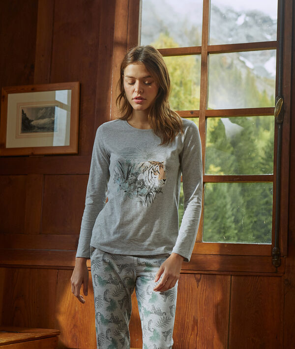 Camiseta manga larga estampado tigre