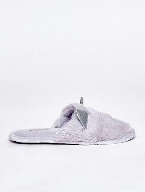 Zapatillas destalonadas tejido peluche y orejas c.gris.