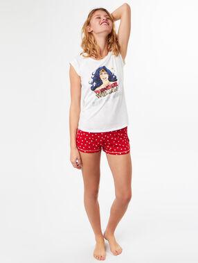 Pantalón corto estampado wonder woman rojo.