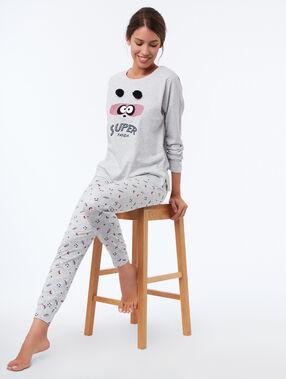 Pantalón estampado pandas c.gris.