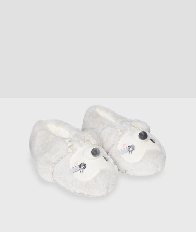 Zapatillas tejido peluche animalitos c.beige.