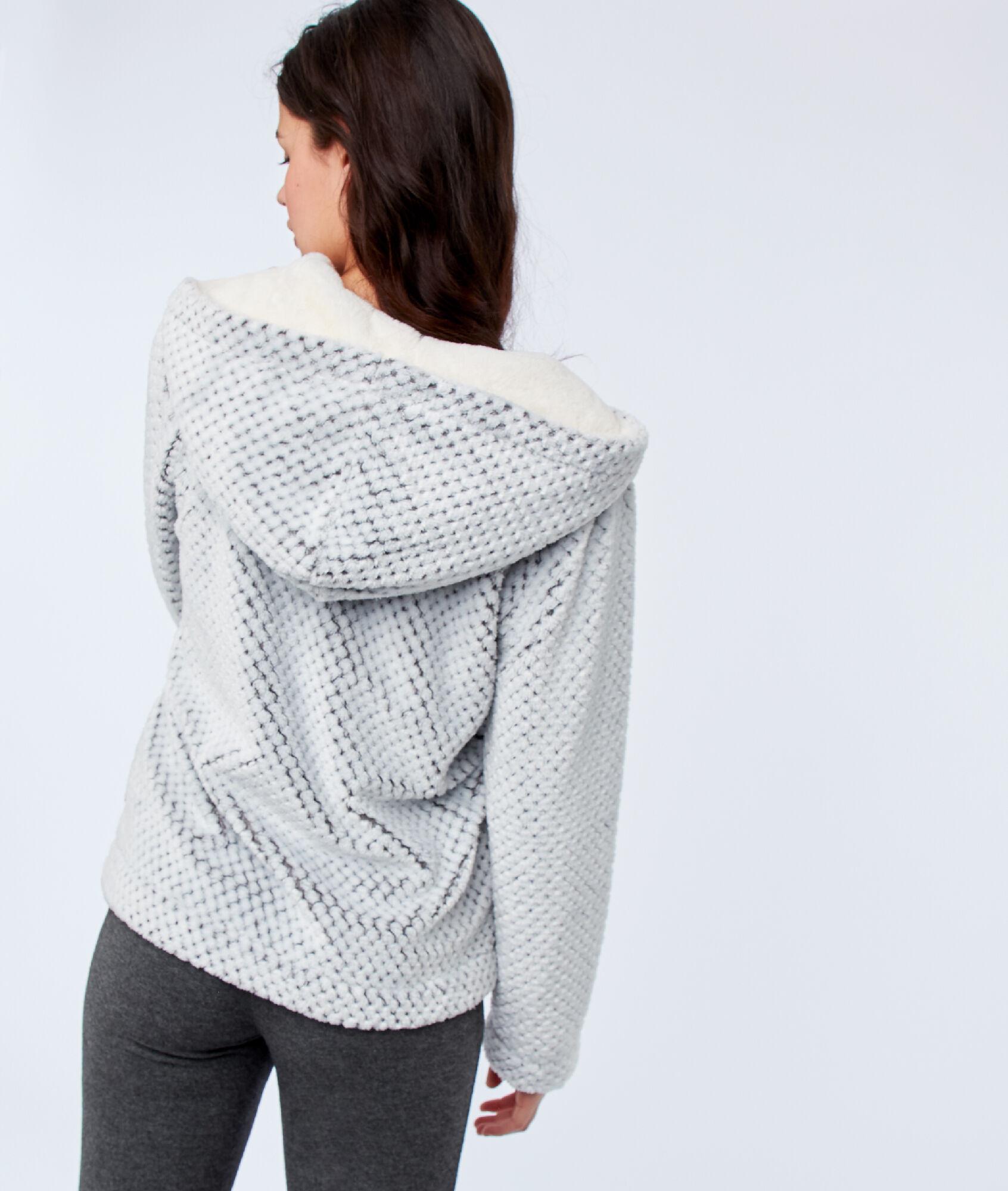 Chaqueta con capucha tejido peluche - SOFTY - C.GRIS - Etam