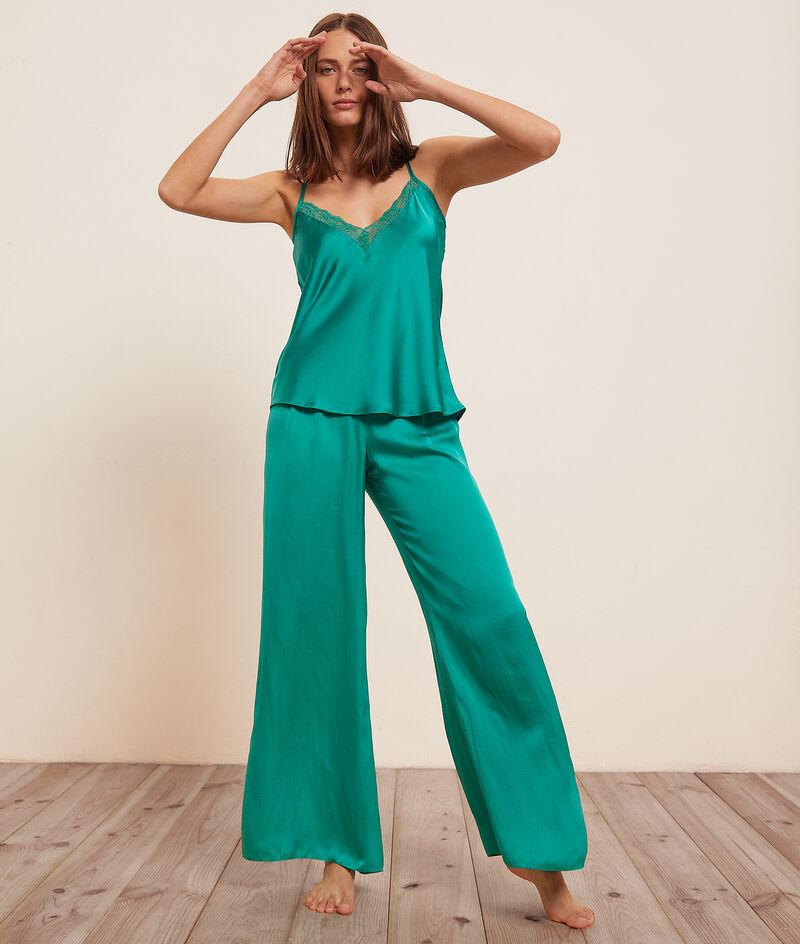 Pantalón de pijama ancho de satén;${refinementColor}