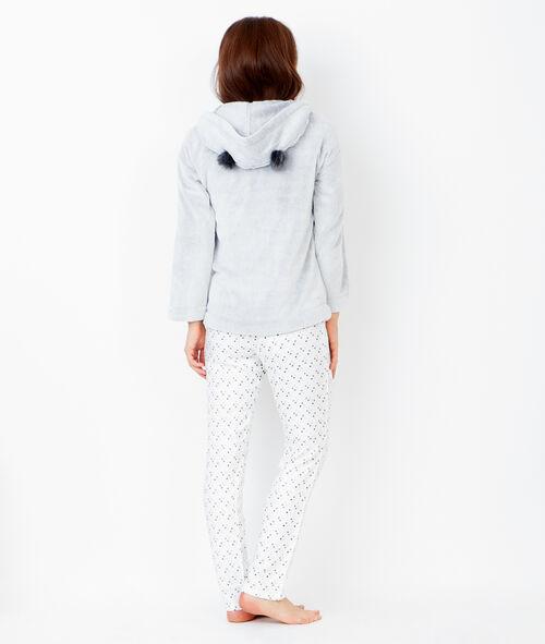 Pijama 3 piezas. Chaqueta tejido peluche con orejas 3D