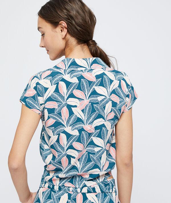 Camisa pijama estampada con lazada, viscosa eco;${refinementColor}