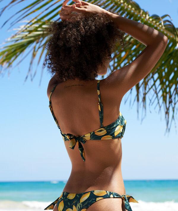 Sujetador bikini tirantes extraíbles, estampado limones