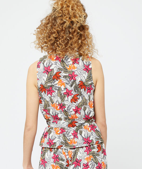 Top escote cruzado estampado tropical;${refinementColor}