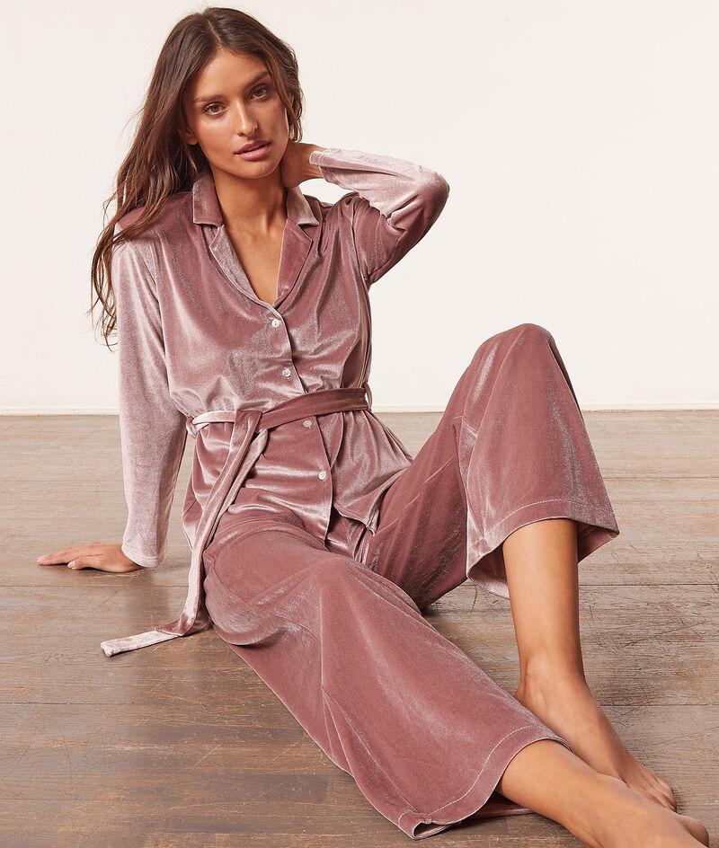Camisa pijama anudada terciopelo;${refinementColor}