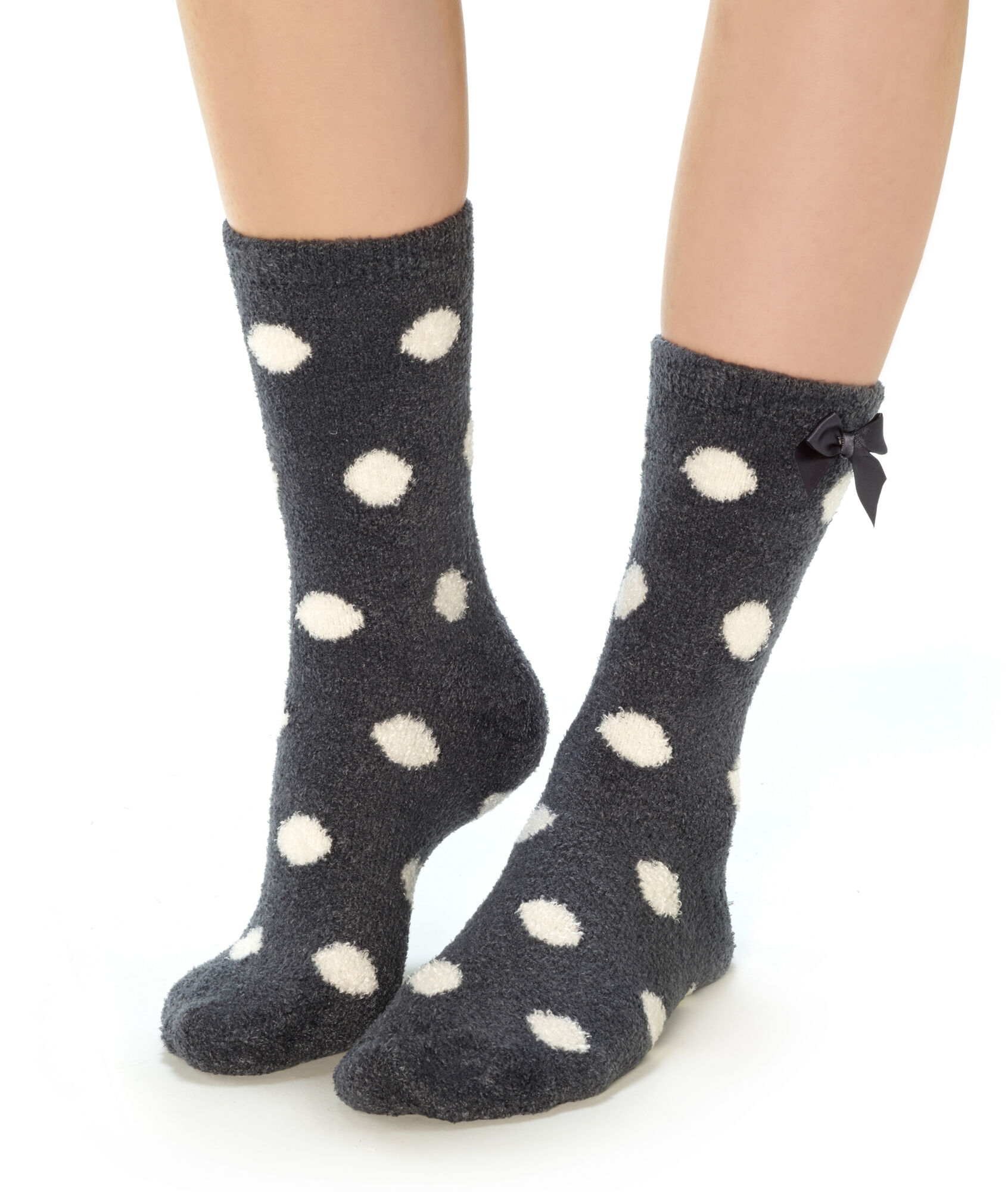 Calcetines estampados tejido peluche - COCOONING POIS - ANTRACITA - Etam