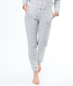 "Pantalon imprimé ""love cats"" gris."