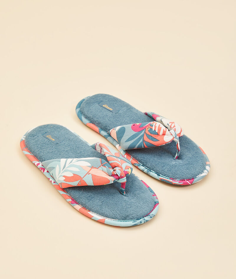 Zapatillas tipo chancla, estampado tropical;${refinementColor}